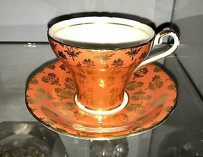 AYNSLEY Orange And Gold Cup & Saucer Set