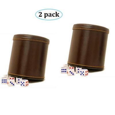 RERIVER PU Leather Dice Cup Set with 6 Dot Dices (Brown, Pack of 2)