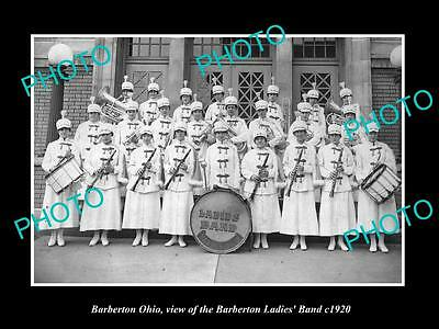 OLD LARGE HISTORIC PHOTO OF BARBERTON OHIO, THE LADIES TOWN BAND c1920
