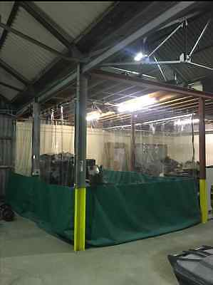 Commercial Half Clear & Green Dust Workshop Curtains  30Ft X 10Ft Spray Booth