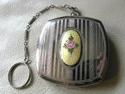 Antique Art Deco Silver Yellow Guilloche Pink Flapper Finger Ring Dance Compact
