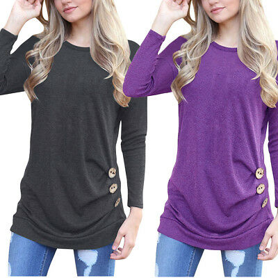 US FAST Women Autumn Long Sleeve Loose Trim Blouse Round Neck Tunic T-Shirt Top