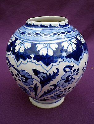 Hand Made Turkish Kutahya Iznik Style Blue & White Vase Traditional Design