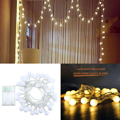 LED String Lights Warm White Ball Fairy Lights Waterproof Starry for Bedroom NEW