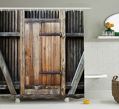 Old Wooden Barn Door with Rusty Decor Print Polyester Fabric Shower Curtain Set