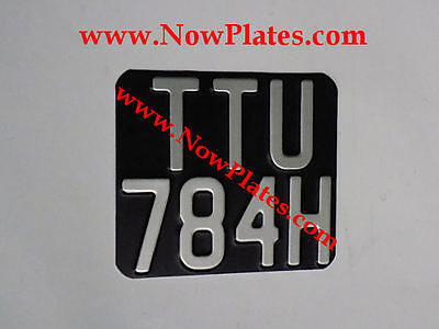 1 x Vintage Pressed Motorcycle Number Plate Black and Silver 140mmX120mm