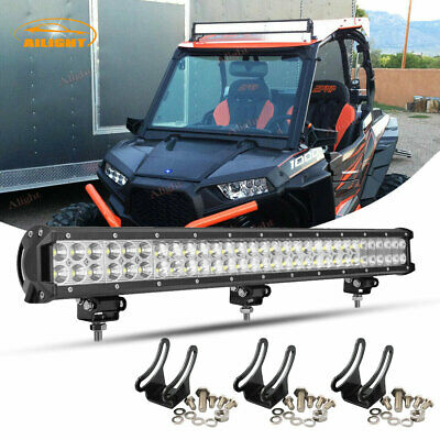 "Curved 30""inch LED Light Bar+2x 4""Pods+Wiring For Polaris RZR 570 800 900 xp1000"