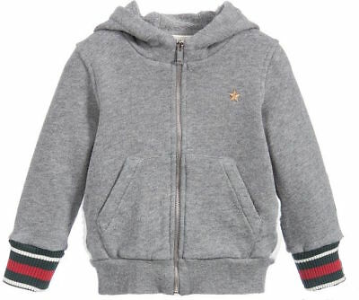 Gucci Baby Boys Grey Gold Star Zip-Up Sweater 12-18 Months