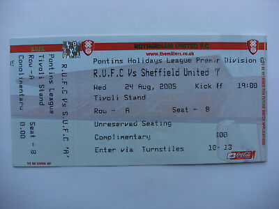 2005 Rotherham United Res v Sheffield United Reserves 24-8-05 Unused Ticket