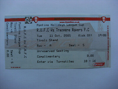 2005 Rotherham United Res v Tranmere Rovers Reserves 11-10-05 Unused Ticket