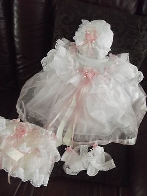 "DREAM NEWBORN BABY GIRLS PINK SILVER SPARKLES DRESS hbd or 17-19"" REBORN dolls"