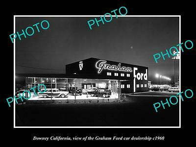 OLD LARGE HISTORIC PHOTO OF DOWNEY CALIFORNIA, GRAHAM FORD CAR DEALERSHIP c1960