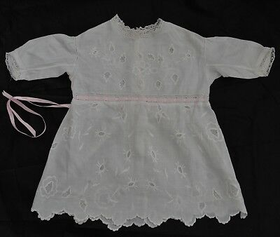 Child's Victorian? Dress-White Work And Ayrshire Embellishment-Lace Trim