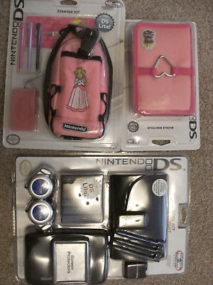 2 Nintendo DS Lite Accessory Starter Kits + Case