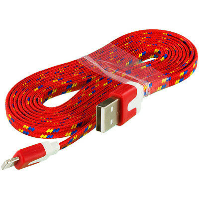 Samsung Note 5 Red Braided 3 FT Flat Data Cable Charger for Car or Home