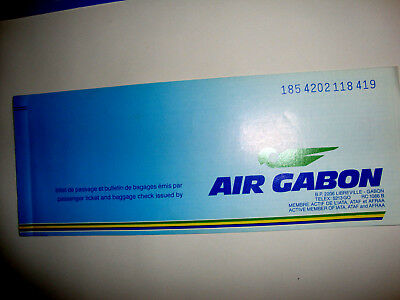 AIR GABON PASSENGER TICKET AND BAGGAGE CHECK. ancien billet