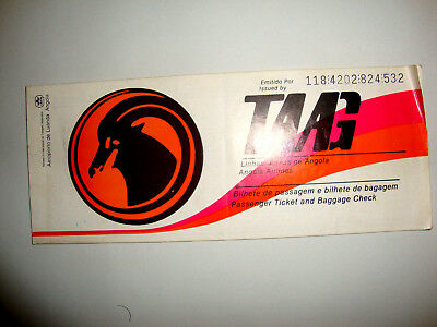 TAAG ANGOLA AIRLINES PASSENGER TICKET AND BAGGAGE CHECK. ancien billet