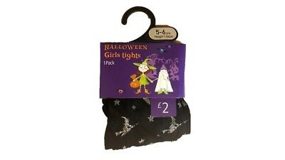 Girl's Ex Store Halloween Tights Black and Silver Witch Design