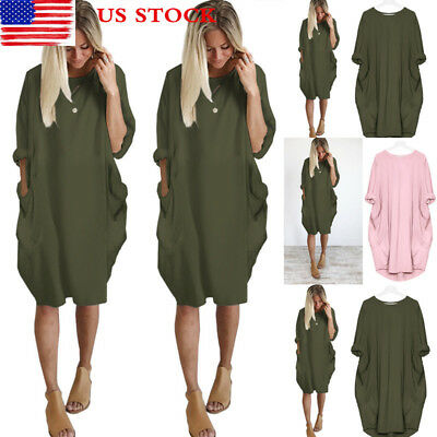Lady Loose Oversize Pocket Dress Casual Sundress Shirt Dress Long Tops Plus Size