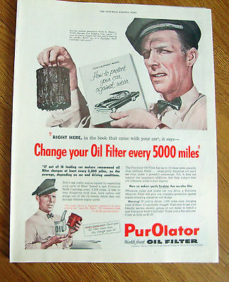 1954 Purolator Oil Filter Ad Propriertor Fred Short Fred's Service Los Angeles