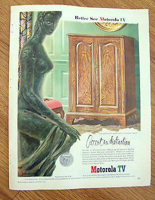 1953 Motorola TV Television Ad Accent on Distinction 1954 Brittany Model 21K15
