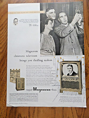 1953 Magnavox TV Television Ad  Movie Hollywood Star Burt Lancaster