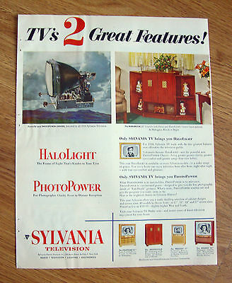 1953 TV Television Ad  Sylvania TV's 2 Great Features