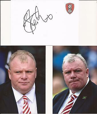 Rotherham * Steve Evans Signed 6X4 Crested White Card+2 Free Unsigned Photos+Coa