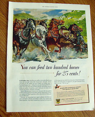 1954 Ethyl Gasoline Ad  In Grandpa's Day You can feed two Hundred Horses for 25