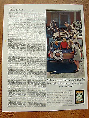 1961 Quaker State Motor Oil Gas Ad  Lot of 2 Ads