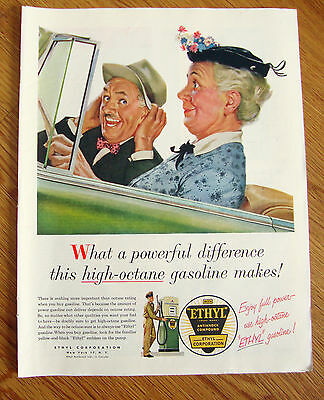 1954 Ethyl Gasoline Ad Old Couple Convertible