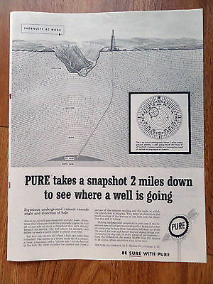 1959 Pure Oil Ad Takes a Snapshot 2 Miles Down to see Where Well is Going