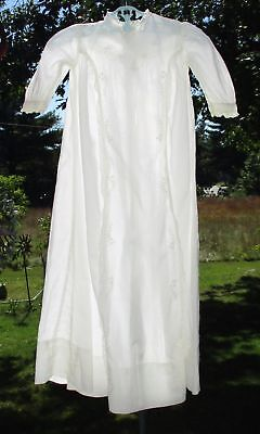 VINTAGE Hand Embroidered Batiste Long BABY BAPTISM CHRISTENING GOWN Dress DOLL