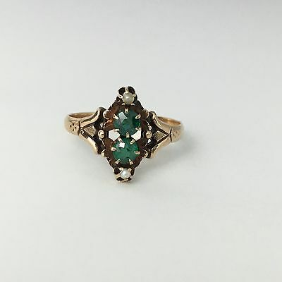 Sweet Victorian 10k Rose Gold with Green Glass & Pearls Ring 7 3/4