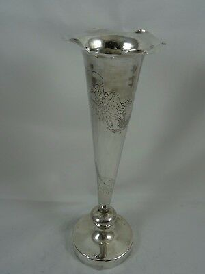 CHINESE EXPORT, solid silver FLOWER VASE, c1900, 170gm
