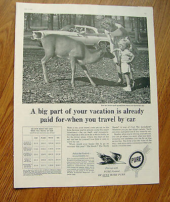 1961 Pure Oil Gas Ad Travel by Car Automobile
