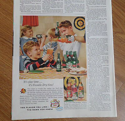 1956 Canada Dry Soda Pop Drink Ad It's Children Play Time