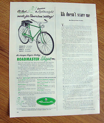 1953 Roadmaster Bicycle Ad  Whippet