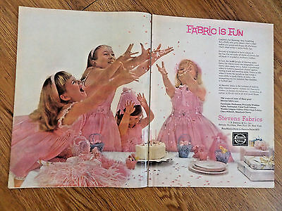 1961 Stevens Fabrics Ad Girls in Pink