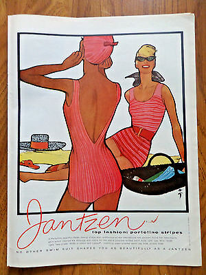 1958 Jantzen Swimsuits Ad  Top Fashion Portofino Stripes