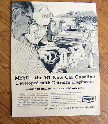 1961 Mobil Oil Gas Ad      1961 Ford Galaxie