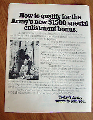 1972 Army Recruiting Ad How to Qualify for New $1500 Special Enlistment Bonus