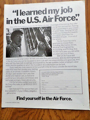 1972 Air Force Recruiting Ad  I Learned my Job in the U. S. Air Force