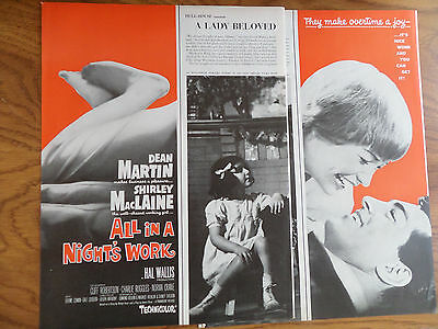 1961 Movie Ad All in a Night's Work Dean Martin & Shirley MacLaine