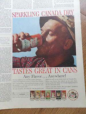 1960 Canada Dry Soda Pop Drink Ad Tastes Great in CANS  Fly Fishing Theme