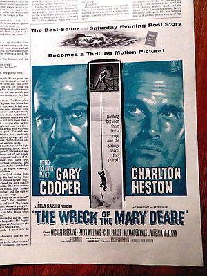 1959 Movie Ad The Wreck of The Mary Deare Gary Coouper Charlton Heston