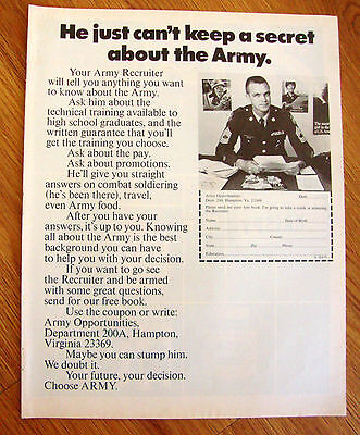 1970 Army Recruiting Ad  Can't Keep a Secret about the Army