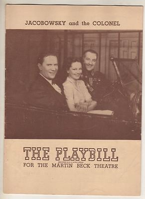 """""""Jacobowsky and the Colonel""""   Playbill  1944  Louis Calhern, Marianne Stewart"""