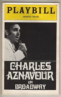 """Charles Aznavour on Broadway""  1974  Playbill   Minskoff Theatre"