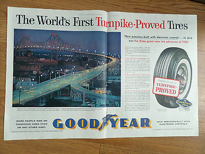 1960 Goodyear Tire Ad New Orleans Expressway & Bridge over Mississippi River
